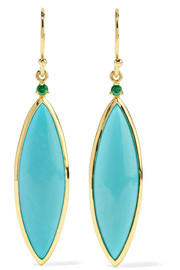 Ippolita Prisma 18-karat gold, turquoise and tsavorite earrings