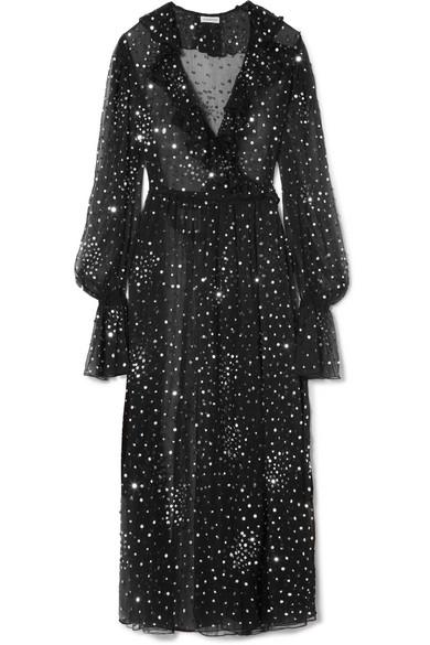 Ashish Wickelkleid aus paillettenverziertem Chiffon mit Rüschen