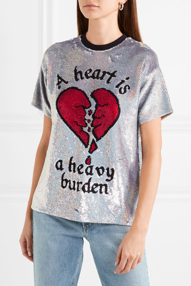 Ashish Paillettenverziertes T-Shirt aus Seiden-Georgette