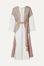 Barre paneled striped satin-twill and poplin dress