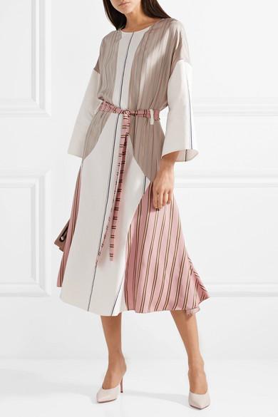 Esteban Cortazar Barre Kleid aus glänzendem Twill und Popeline mit Streifen