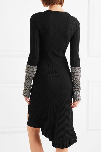 Esteban Cortazar Gerüschtes Kleid aus Rippstrick mit Metallic-Effekt
