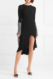 Metallic ruffled ribbed-knit dress
