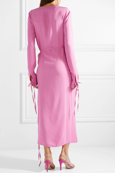 Best Wholesale Cheap Online Tie-detailed Crepe Wrap Dress - Pink Attico Free Shipping Release Dates Finishline Online rBycQN2