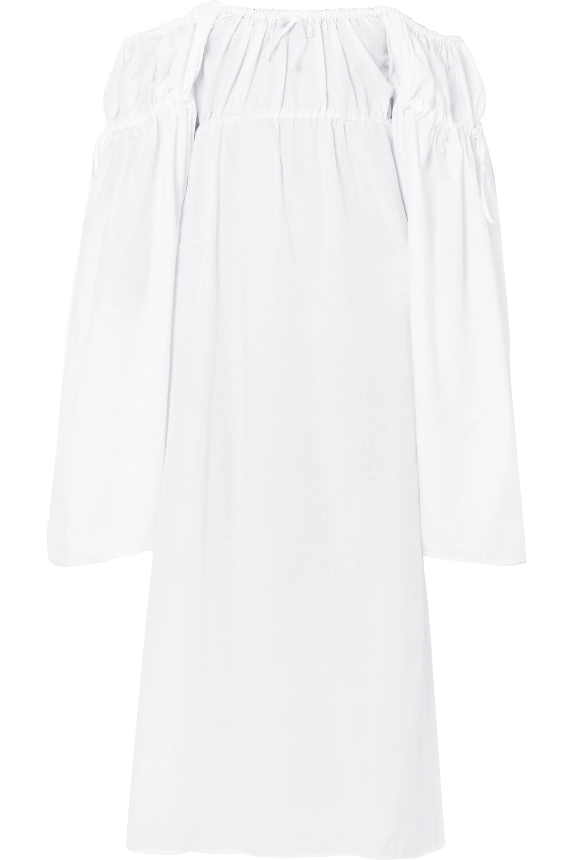 The Attico Off-the-shoulder cotton midi dress