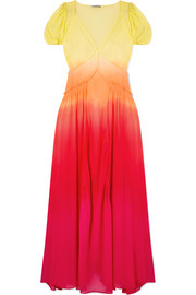 Attico Shirred ombré silk-georgette maxi dress