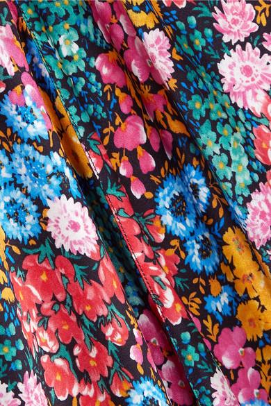 Attico Asymmetrisches Midikleid aus floral bedrucktem Seidensatin