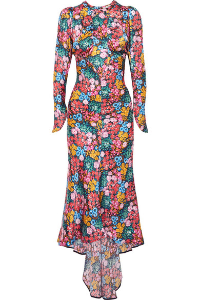 Attico - Asymmetric Floral-print Silk-satin Midi Dress - Pink