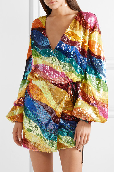 Attico Sequined Tulle Wrap Mini Dress Net A Porter Com