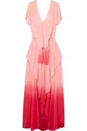 Ruffled ombré silk-chiffon maxi dress