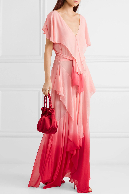 The Attico Ruffled ombré silk-chiffon maxi dress