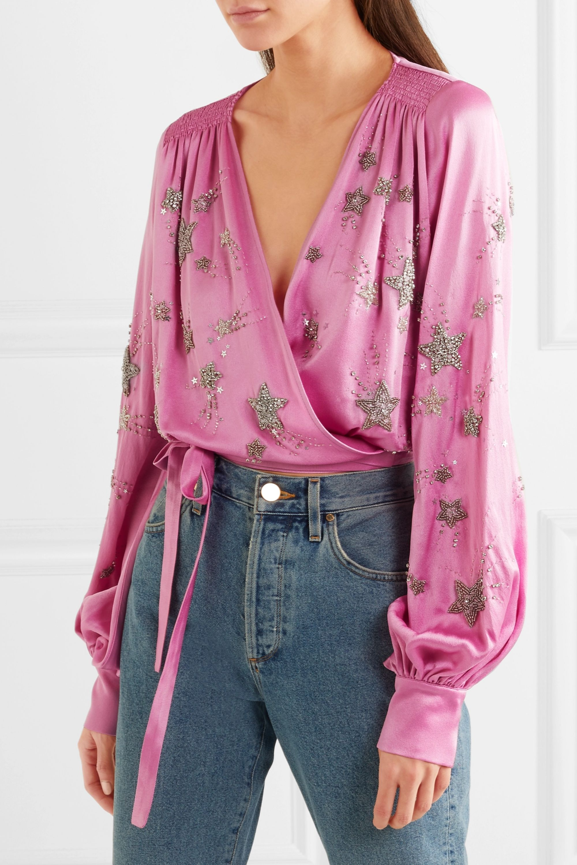 The Attico Embellished satin wrap top