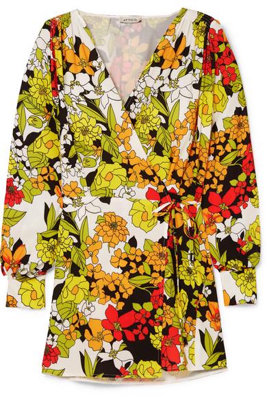 Floral Print Crepe Wrap Dress by Attico
