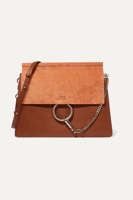 Brown Faye medium leather and suede shoulder bag | Chloé qPlQP2