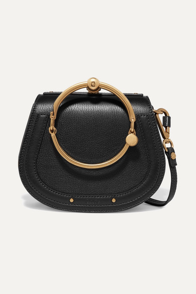 969a042f2 ChloÉ Nile Bracelet Small Textured-Leather And Suede Shoulder Bag In Black