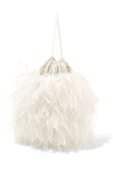 Attico - Feather-embellished Poplin Pouch - White