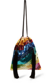 Attico Tasseled sequined tulle pouch