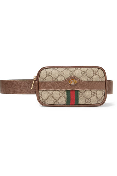 65ecf916a1f Gucci. Ophidia textured leather-trimmed printed coated-canvas belt bag