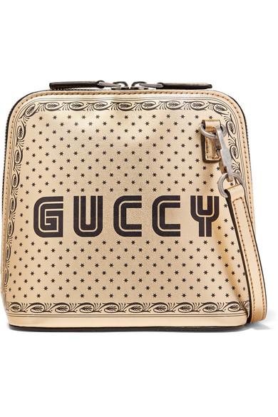 c112b3bdb8c Gucci. Guccy printed metallic leather shoulder bag