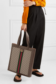 Gucci Ophidia GG leather-trimmed printed coated-canvas tote