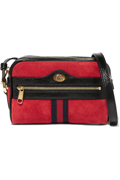 Ophidia Patent Leather-Trimmed Suede Shoulder Bag in Red