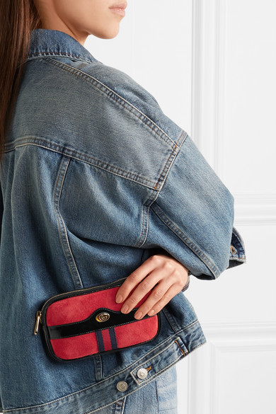 8b556cb00e0 Gucci. Ophidia patent leather-trimmed suede belt bag.  790. Zoom In