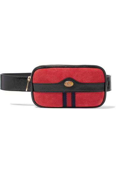 084af535f0c Ophidia patent leather-trimmed suede belt bag