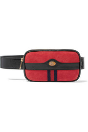 Gucci Ophidia patent leather-trimmed suede belt bag