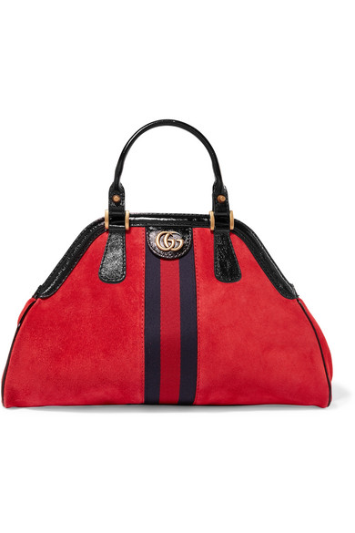 RE(BELLE) SMALL PATENT LEATHER-TRIMMED SUEDE TOTE