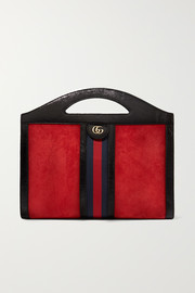 Gucci Ophidia medium patent leather-trimmed suede tote