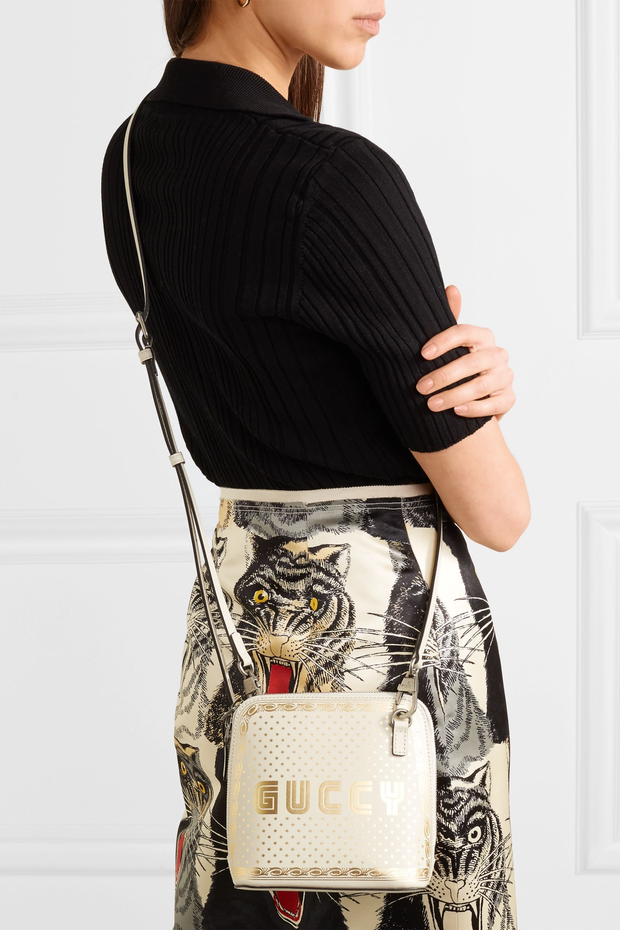 Ivory Guccy printed leather shoulder