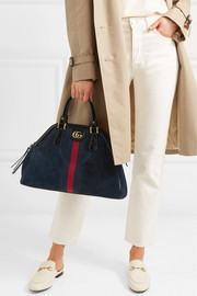 Gucci Re(Belle) small patent leather-trimmed suede tote