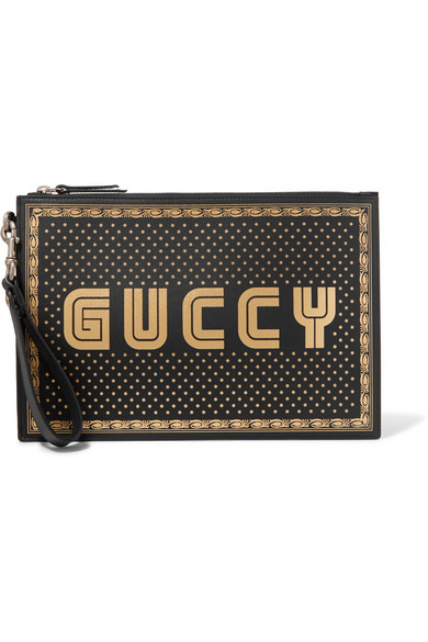 Guccy Moon & Stars Leather Zip Pouch - Black in Black Leather