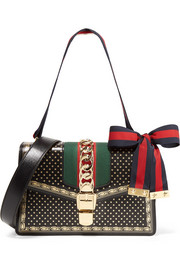 Sylvie small chain-embellished printed leather shoulder bag