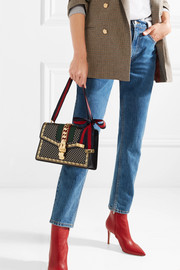 Gucci Sylvie small chain-embellished printed leather shoulder bag