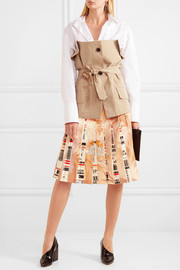 Printed pleated wool-blend skirt
