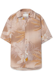Printed bonded linen and cotton-blend shirt