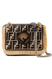 Fendi Kan I leather-trimmed embroidered raffia shoulder bag