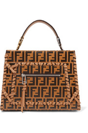 Fendi Runaway small embossed whipstitched leather tote