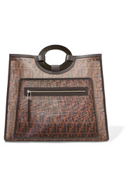 Fendi Leather-trimmed printed mesh tote