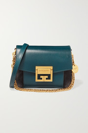 GV3 mini two-tone suede and textured-leather shoulder bag