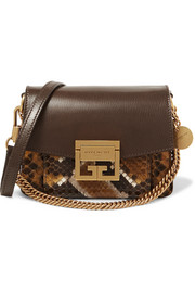GV3 small textured-leather and python shoulder bag