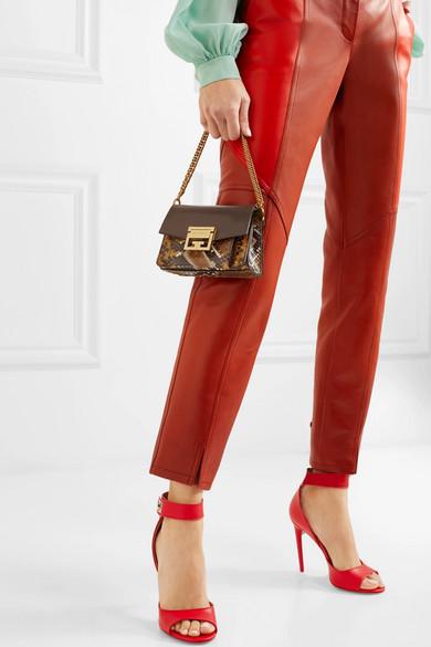 Givenchy GV3 kleine Schultertasche aus strukturiertem Leder und Pythonleder Billige Usa Händler Di9Or
