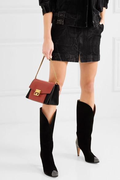 Givenchy GV3 kleine Schultertasche aus Leder und Veloursleder