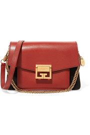 GV3 small leather and suede shoulder bag