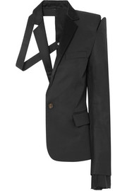 Deconstructed satin-trimmed silk and cotton-blend twill blazer
