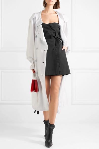 Off-the-shoulder Cotton-canvas Mini Dress - Black Unravel kDXaP7