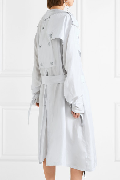 5e8aee2c254 Unravel Project | Oversized button-detailed silk trench coat | NET-A ...
