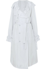 Oversized button-detailed silk trench coat