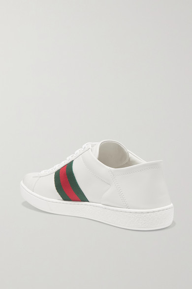 fe1d17e1021 Gucci. Ace embroidered leather collapsible-heel sneakers.  620. Zoom In